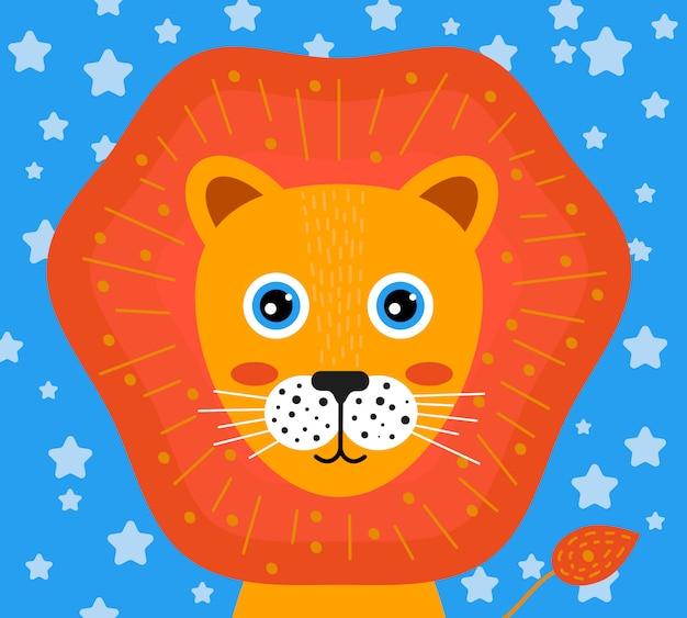Cara de guardería de león Vector Premium