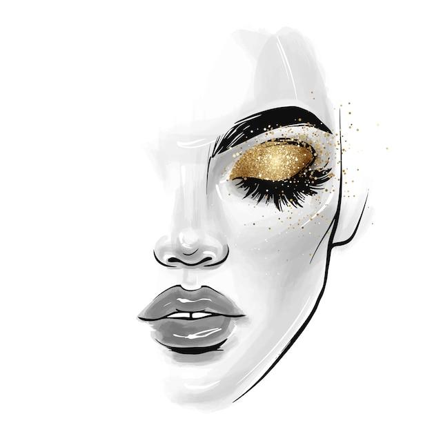 Cara hermosa mujer joven. ilustración de boceto de moda Vector Premium