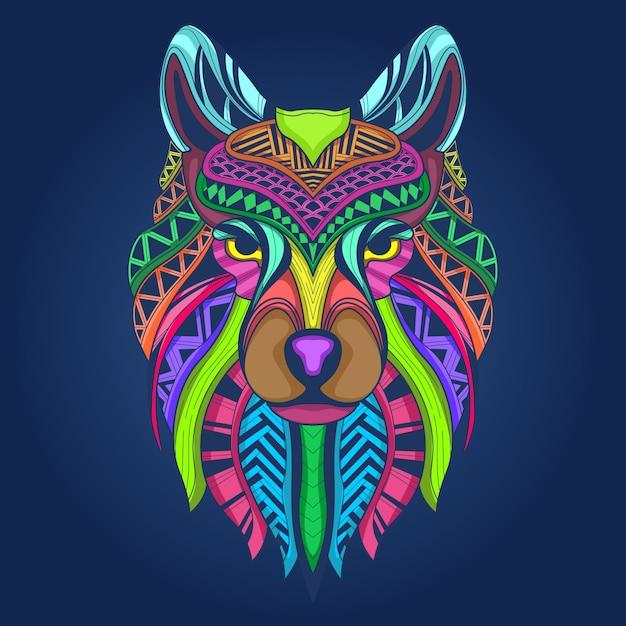 Cara de lobo colorido Vector Premium