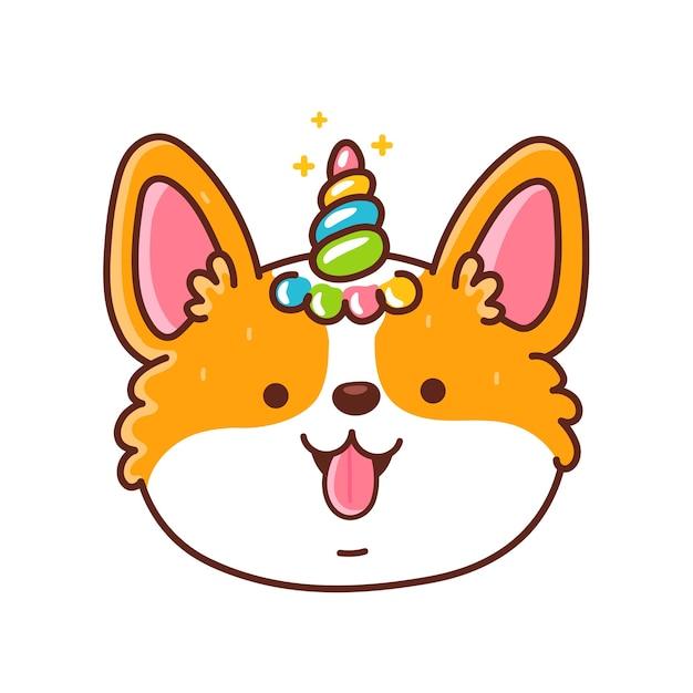 Cara de perro corgi feliz lindo con cuerno de unicornio Vector Premium