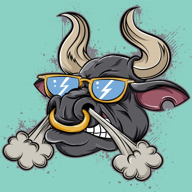 Cara de toro enojado Vector Premium