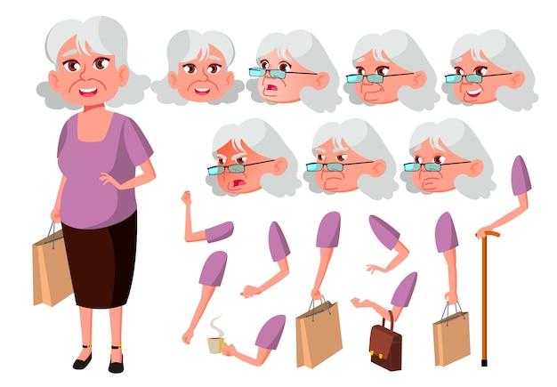 Carácter de anciana. europeo. creador de creación para animación. enfrenta las emociones, las manos. Vector Premium