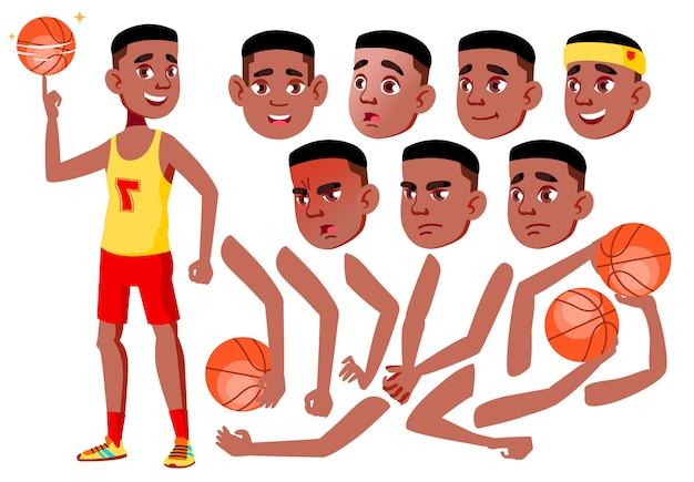Carácter de chico adolescente. africano. creador de creación para animación. enfrenta las emociones, las manos. Vector Premium