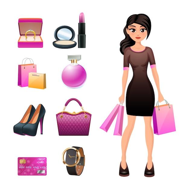 Carácter de compras mujer con accesorios de moda joyas y cosméticos. vector gratuito