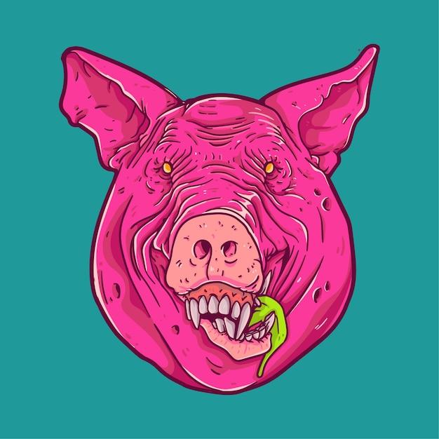Carácter de cara de cerdo | Descargar Vectores Premium