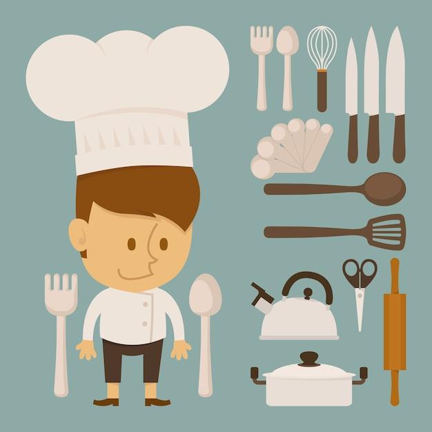 Car cter de chef y herramienta dise o plano descargar - Los utensilios del chef ...