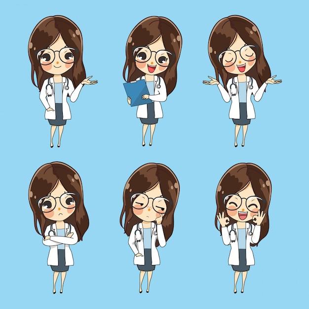 Carácter doctores mujeres muestran una variedad de gestos, palabras y emociones. Vector Premium