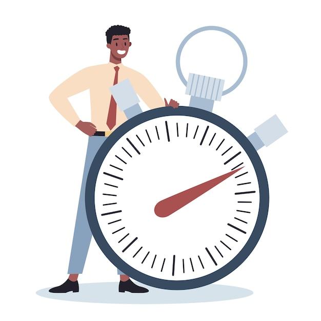 Carácter empresarial con un reloj. efectividad y planificación del trabajo. concepto de gestión del tiempo productivo. planificación de tareas, elaboración de un horario semanal. Vector Premium