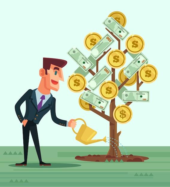 Carácter de empresario feliz regando dinero ilustración de dibujos animados plana Vector Premium