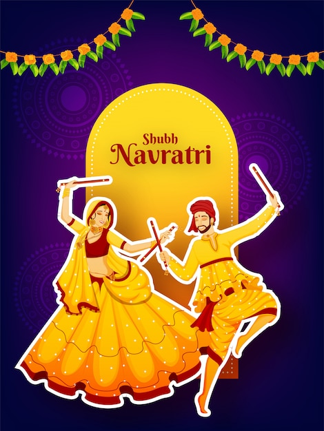 Carácter de estilo pegatina de pareja bailando con palo dandiya Vector Premium