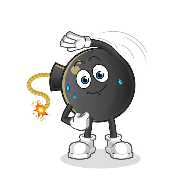 Carácter de estiramiento de bomba. mascota de dibujos animados Vector Premium