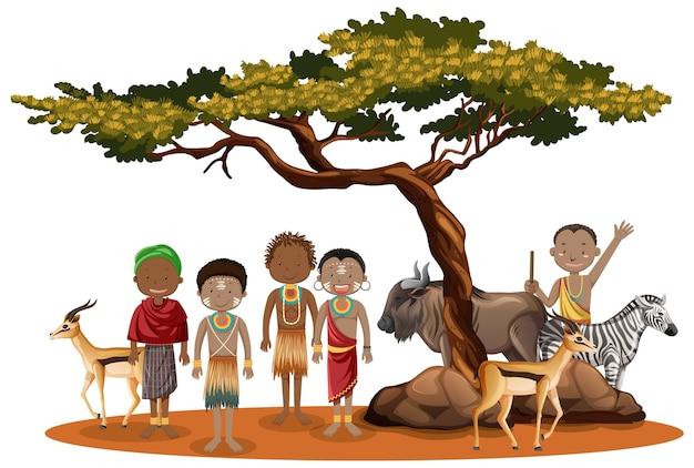 Carácter étnico de las tribus africanas Vector Premium