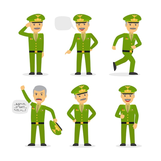Carácter general militar en diferentes poses. Vector Premium