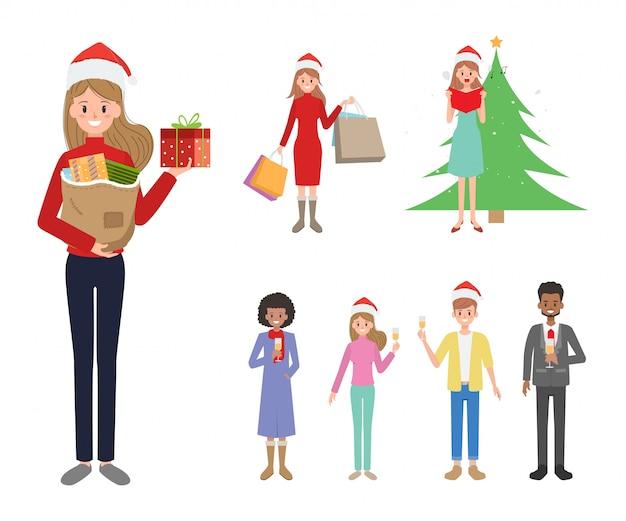 Gente Feliz En Navidad.Caracter De La Gente Feliz Navidad Descargar Vectores Premium