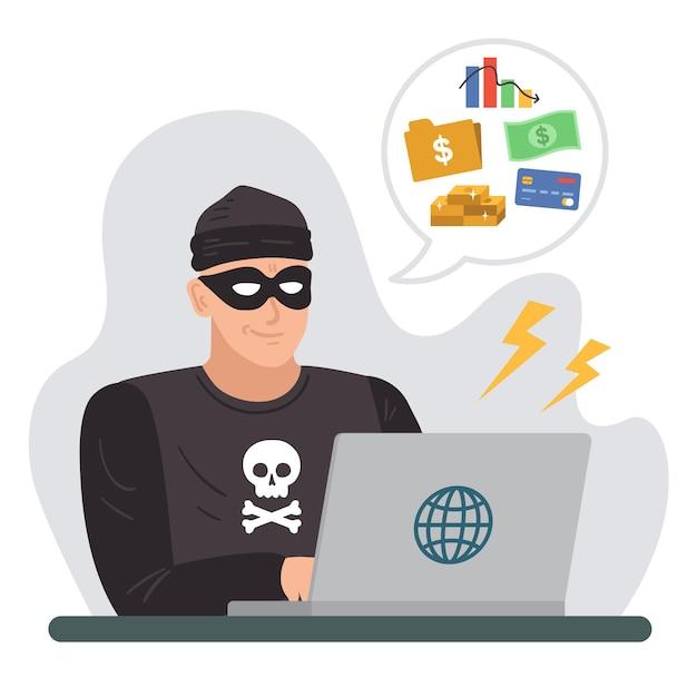Carácter hackear tarjetas de crédito vector gratuito
