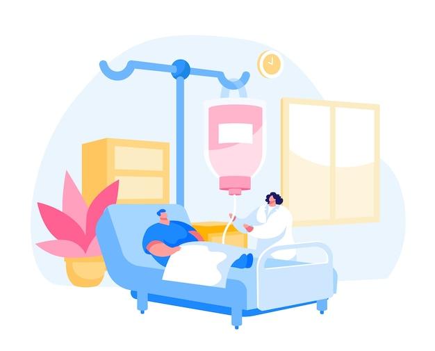 Carácter de hombre acostado en la cámara del departamento de clínica en el hospital aplicando tratamiento Vector Premium