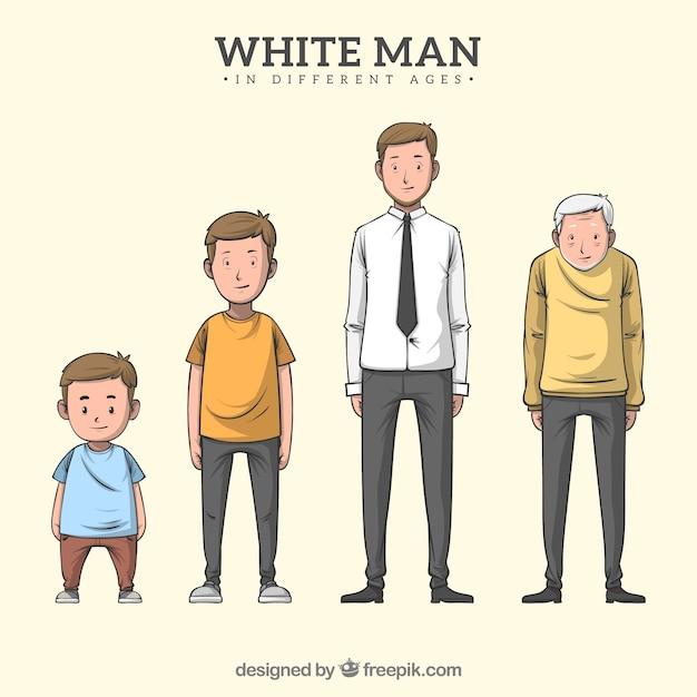 Carácter de hombre blanco en diferentes edades vector gratuito