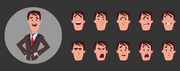Carácter del hombre joven con varias emociones faciales y sincronización de labios. personaje para animación personalizada. Vector Premium