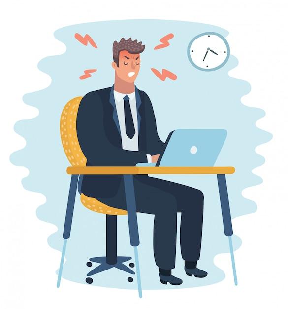 Carácter de hombre de oficina enojado. trabajo duro. Vector Premium