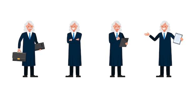 Carácter de judge man. presentación en varias acciones. Vector Premium