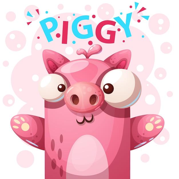 Carácter lindo del cerdo - ilustración de la historieta. Vector Premium