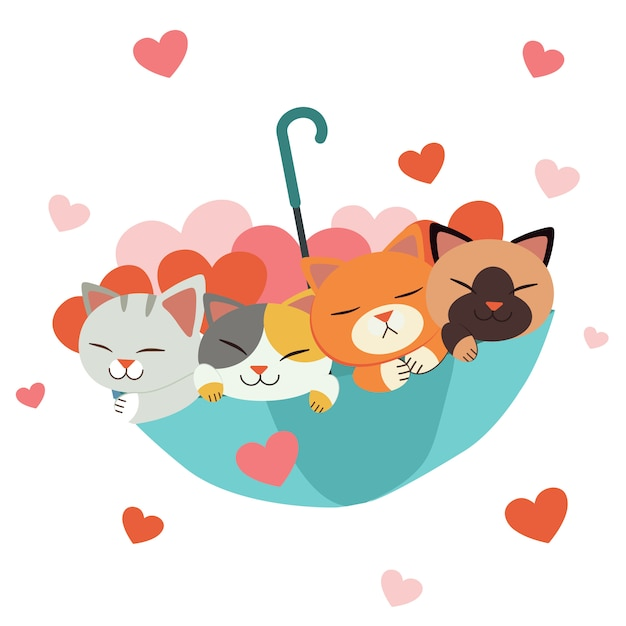 Carácter de lindo gato y amigos en el paraguas con mucho corazón en blanco Vector Premium