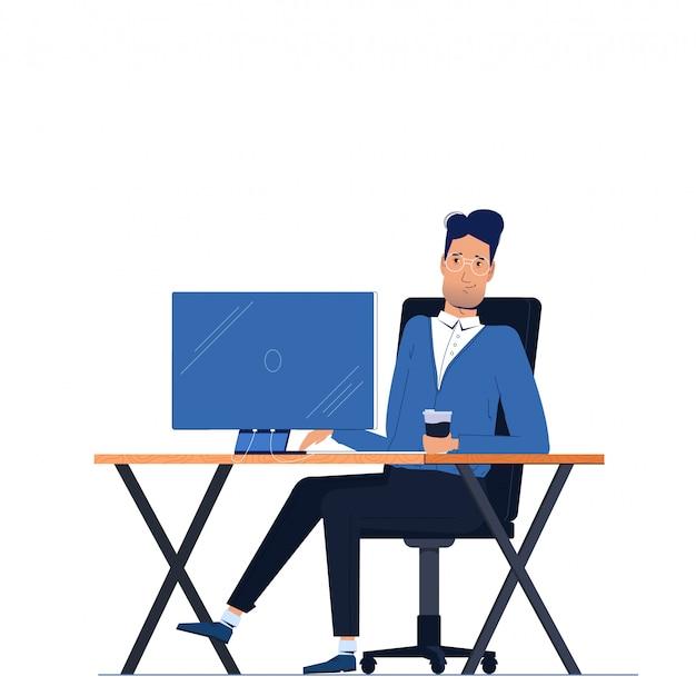 Carácter masculino del hombre de negocios que se sienta en oficina detrás del lugar de trabajo en el escritorio del monitor de computadora. vector gratuito
