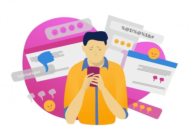 Carácter masculino sostenga el teléfono móvil, el acoso cibernético en línea en blanco, ilustración. tecnología moderna, hostigamiento web. Vector Premium