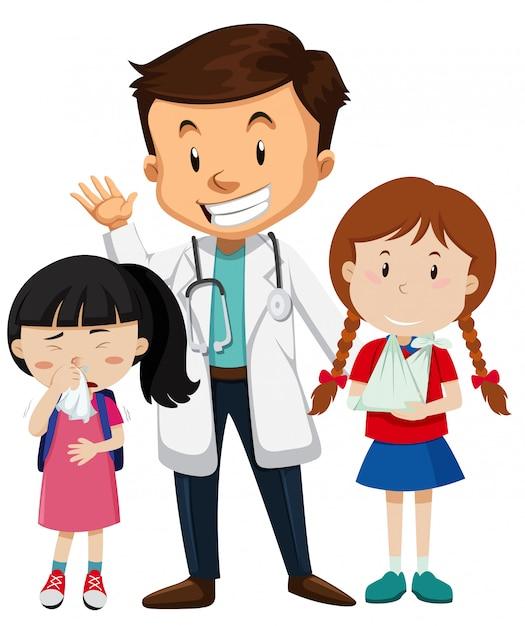 Carácter médico y paciente. vector gratuito