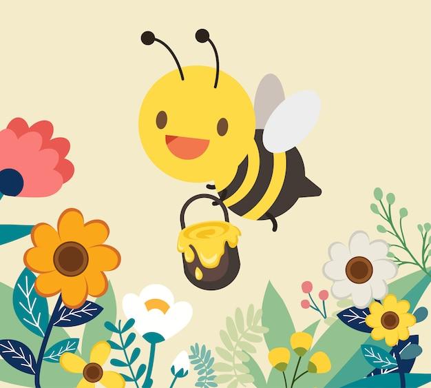 Carácter miel de abeja con flor Vector Premium