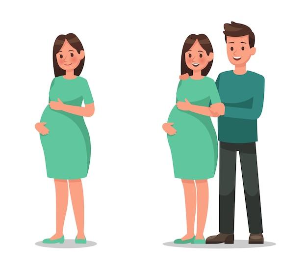 Carácter de mujer embarazada Vector Premium