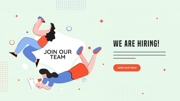 Carácter de las mujeres que buscan desde binoculares y anuncio para estamos contratando vacantes. Vector Premium