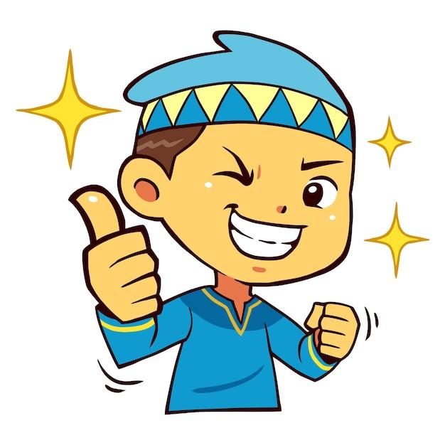 Carácter musulmán boy thumb up pose. Vector Premium