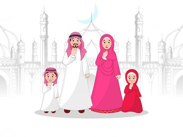 Carácter musulmán de la familia frente a la mezquita en el estilo de dibujo. Vector Premium