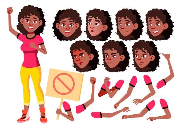 Carácter de niña adolescente. africano. creador de creación para animación. enfrenta las emociones, las manos. Vector Premium