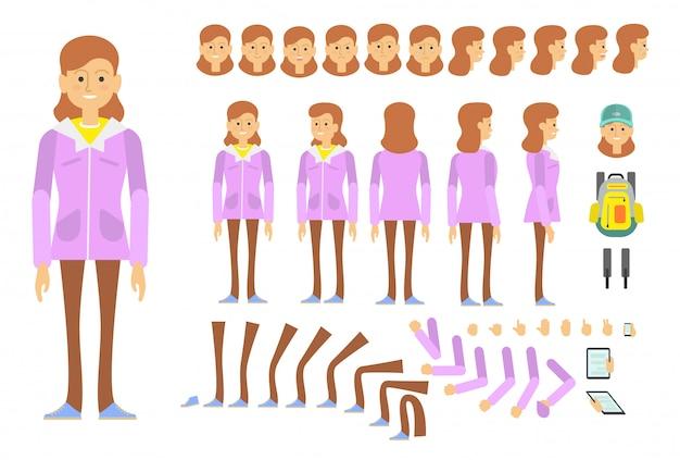 Carácter de niña estudiante con diferentes poses, emociones. vector gratuito