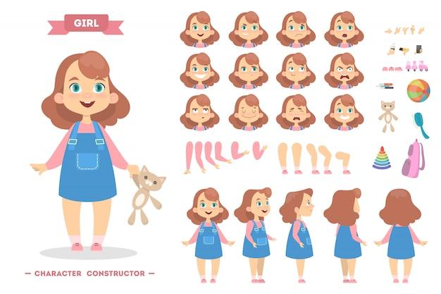 Carácter de niña con poses y eothions. Vector Premium