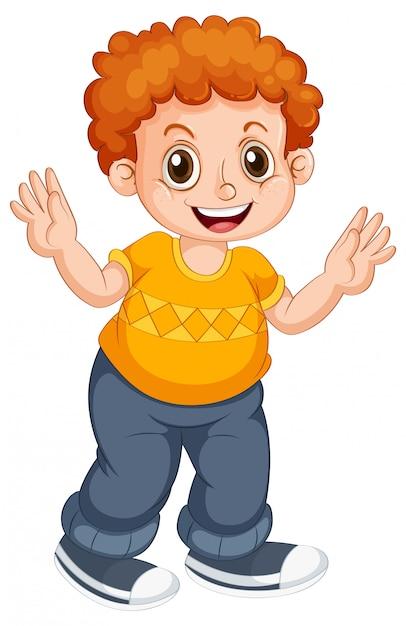 Carácter del niño del muchacho en fondo aislado vector gratuito