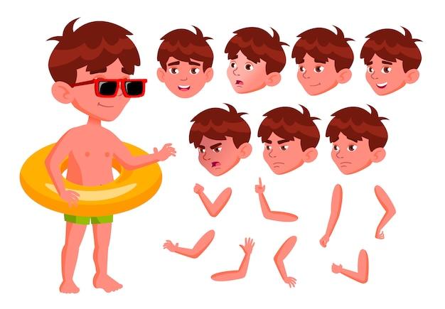 Carácter niño niño. europeo. creador de creación para animación. enfrenta las emociones, las manos. Vector Premium