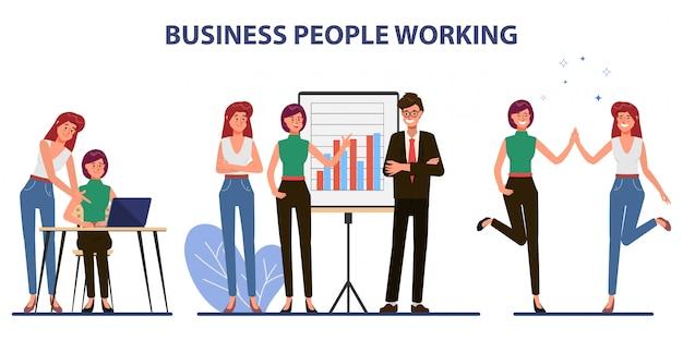 Carácter de oficina de trabajo en equipo de negocios con reunión de seminario colega. Vector Premium