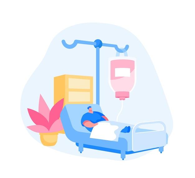 Carácter paciente herido enfermo acostado en la cama médica con cuentagotas Vector Premium