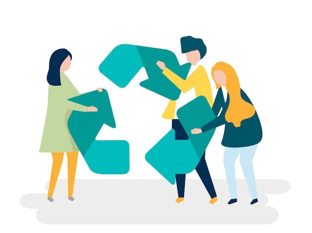Carácter de personas sosteniendo una ilustración de símbolo de reciclaje Vector Premium