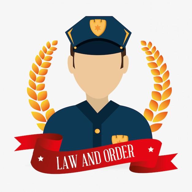 Carácter policial de ley y orden vector gratuito