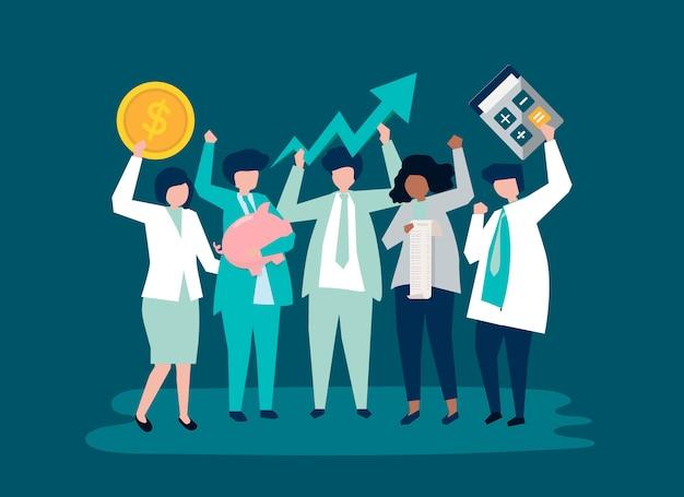 Caracteres de una gente de negocios e iconos de crecimiento del rendimiento. vector gratuito