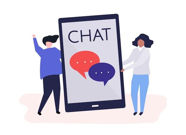 Caracteres de una pareja y mensajes de texto concepto ilustración vector gratuito