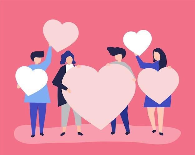 Caracteres de personas sosteniendo corazón formas ilustración vector gratuito