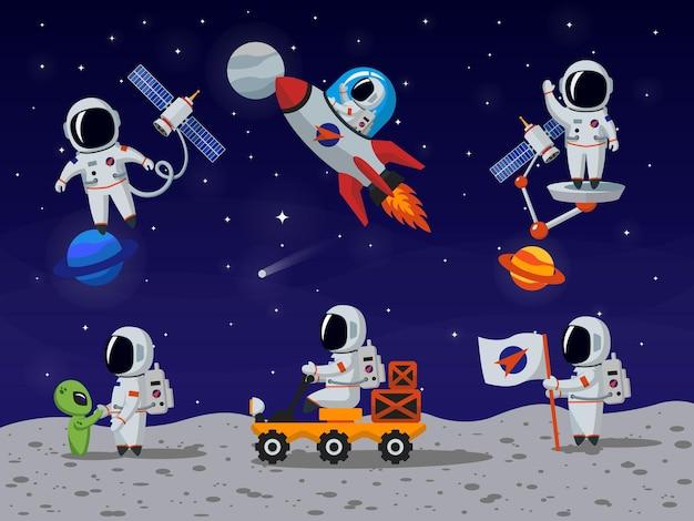 Caracteres vectoriales de astronautas en estilo de dibujos animados planos. dibujos animados de astronauta, astronauta de personaje, astronauta de persona, ilustración de astronauta humano vector gratuito