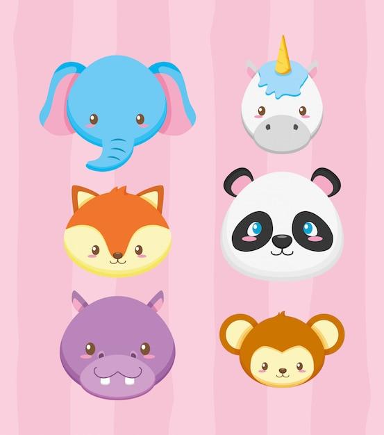 Caras de animales para tarjeta de baby shower vector gratuito