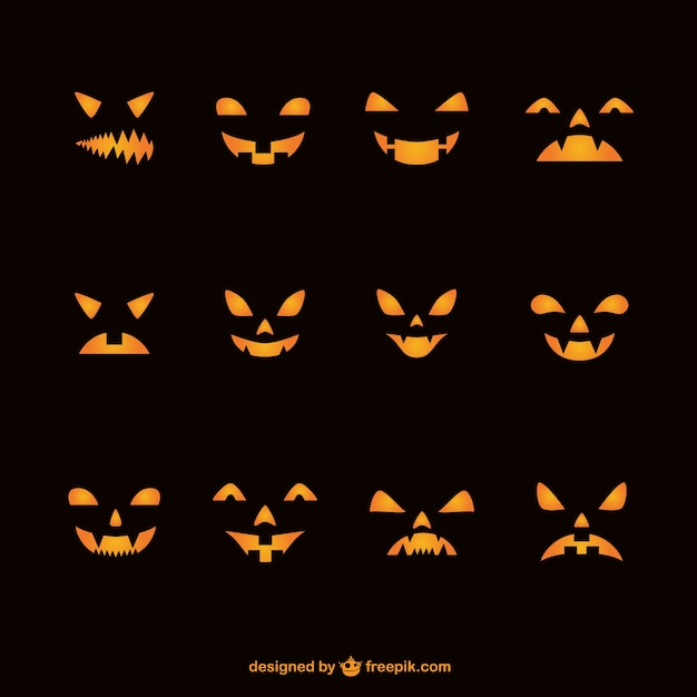 Caras de calabazas para halloween descargar vectores gratis - Calabazas halloween para imprimir ...