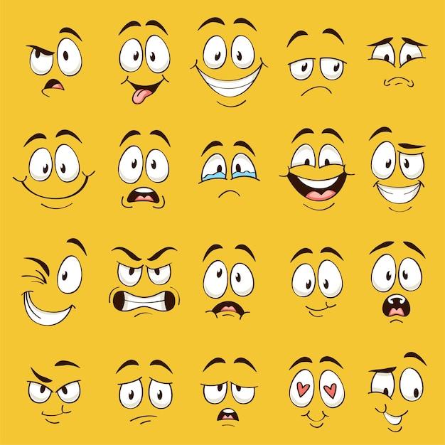 Caras de dibujos animados. expresiones de caras divertidas, emociones de caricatura. lindo personaje con diferentes ojos y boca expresivos, colección de emoticonos de lengua feliz Vector Premium